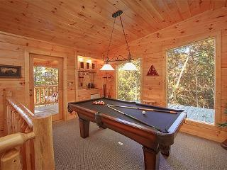 Lofted Game Room with Pool Table Tucked Away