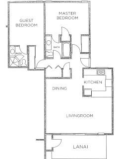 This is the floor plan for our condo. You can see and hear the ocean from our beachfront Lanai.