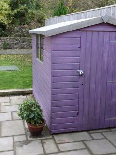 Keep your cycles in the lockable purple shed, the stone wall beyond is more traditional in Yorkshire
