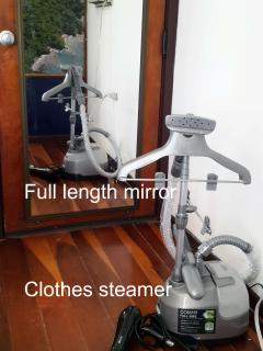 Full length mirror, blow dryer, clothes steamer
