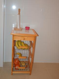 Next to the kitchen this handy place to store fruits etc.