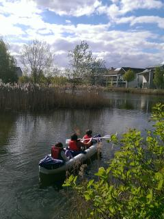 Canoes can be rented on site and used on several lakes