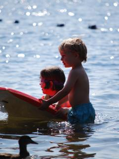 Lake swimming at nearby Cotswold Country Park and Beach