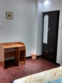 Wardrobe, dressing mirror, writing table, chair