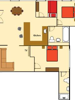 Rent the 3 bedroom apartment separately for up to 6 people.
