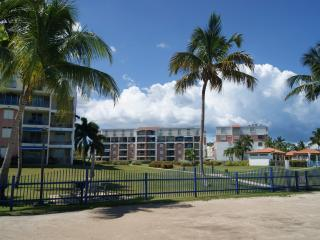 Buildings seen from beach area.
