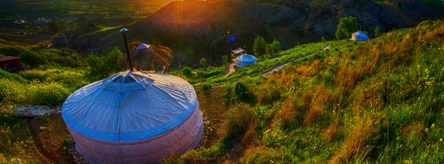 Panoramic view of all 3 yurts. 'Nasu' on the left, 'Qadan' in the middle & 'Engke' on the far right