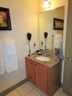 Hall Bathroom with granite countertops and hair dryer