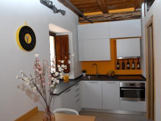 Cucina (piastre a induzione, forno a microonde comb., lavastoviglie, frigorifero, cappa aspirante).
