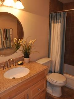 Second bathroom, calming and clean decor