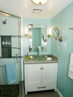 newly renovated washroom with glass surround shower & pebbled floor