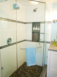 Newly renovated washroom with bright LED lighting & glass surround shower