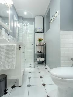 Bathroom, we provide hand soap, hair dryer and towels