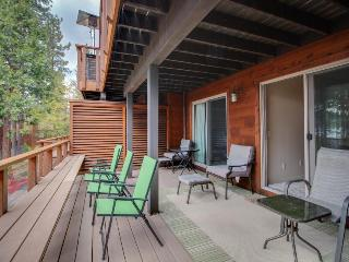 Stylish lakefront condo with a deck, private beach access & a dock!