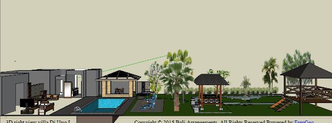 architectural plan ground floor and garden villa Di Uma I