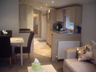 Modern kitchen & dinning for 4 with dishwasher kitchen over looks the river Colwyn