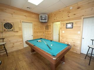 Game Room with Pool Table at Mountain Lake Escape