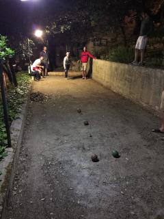 Bocce court for backyard games