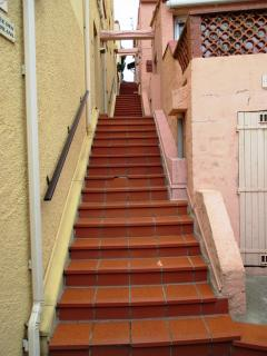 The staircase to the front door after village