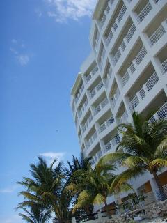 Beach view of condo complex