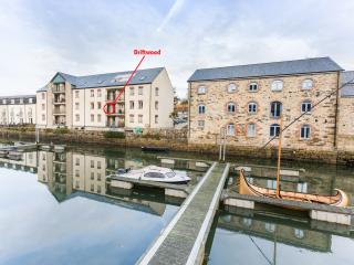 Driftwood overlooks the quay and has reserved parking and WiFi