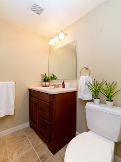 Bathroom with walk in shower large enough for two. Blow dryer, makeup mirror, shampoo and essentials