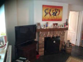 living room with coal/log burner