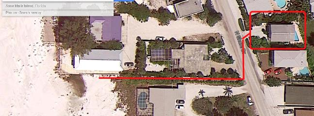 Vacation Rental House in the red box on the right with the path outlined to the beach access.