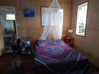 queen size bed, mosquito net,standing fan & ceiling fan