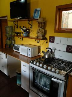 Large gas stove and new appliances.