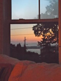 Morning sunrise as seen from the living room windows.