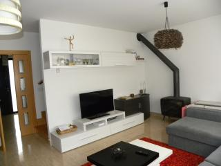 Salón completamente amueblado, con televisión y chimenea.