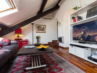 living room with 48' TV screen and international satellite channels