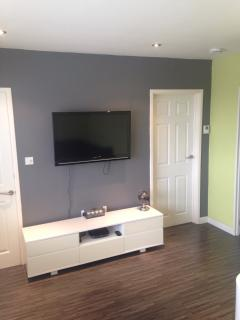 Lounge with flat screen TV lamp and Sky Q