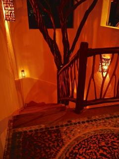 Enchanting entryway at night, centered with an exotic Brasil tree.