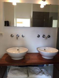 One of our bathrooms with sink, shower and toilet