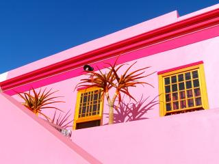 """The Pink Lady"" in the heart of historic Bo Kaap, Le Cap"