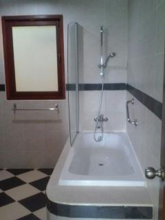 The main bathroom with bathtub