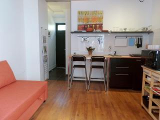 Ingang vanuit woonkamer gezien. Links de 2-pers slaapbank. Keuken met oven/magn/koelkast + toebeh.