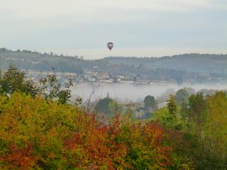 The view from the living room on a misty autumn day
