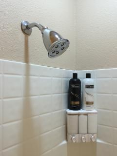 Upgraded Showerheads and Premium Shampoo and Conditioner