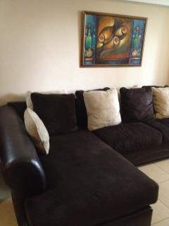 Large L shaped sofa in living room. All furnishings were imported from the USA of high end brands.