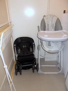 Baby change table, stroller and high chair.
