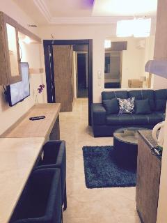 Other king size with Sofe bed couches and a nice kitchen with a warm bathroom and out side garden