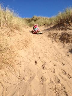 Sand sledging at Woolacombe