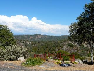 Partial sample of the panoramic mountain view from this ridge-top vacation home. (From front deck.)
