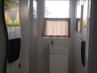 Partial view of the newly remodeled bathroom