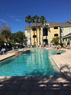 The heated pool in January!  Lots of chairs, loungers and umbrella tables.