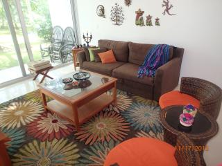 living room has direct access to garden/pool.