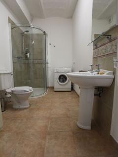 Ground floor family bathroom and washing machine.